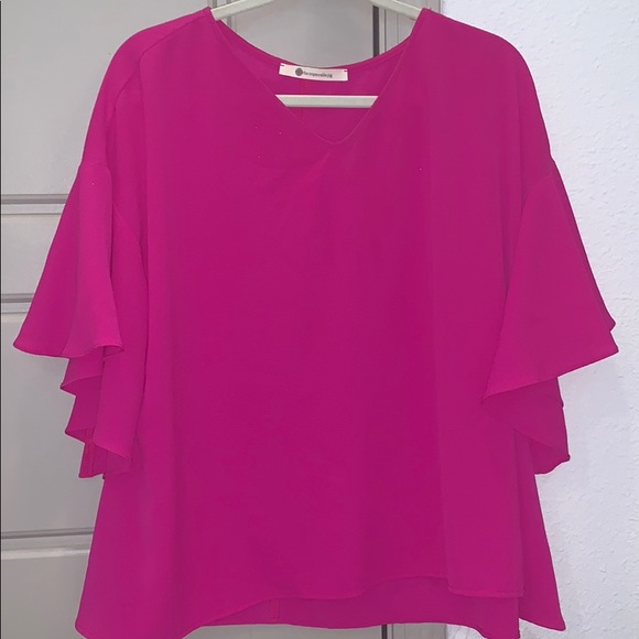 The Impeccable Pig Tops - Fuchsia Top with bell sleeves